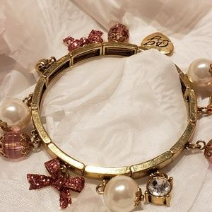 Betsy Johnson Stretch Pink & Gold Bracelet